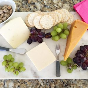 trader joe's cheeses, wine + my new marble slab cutting…