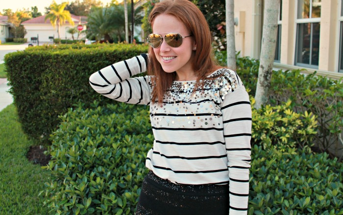 Striped + Sequin Tee || The Average Girl's Guide