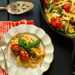 recipe: roasted tomato pasta with brie + pine nuts