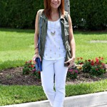 outfit: white and vested