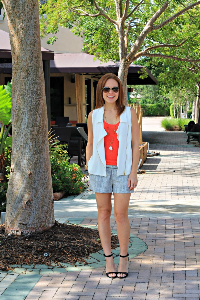 moto vest + shorts for date night