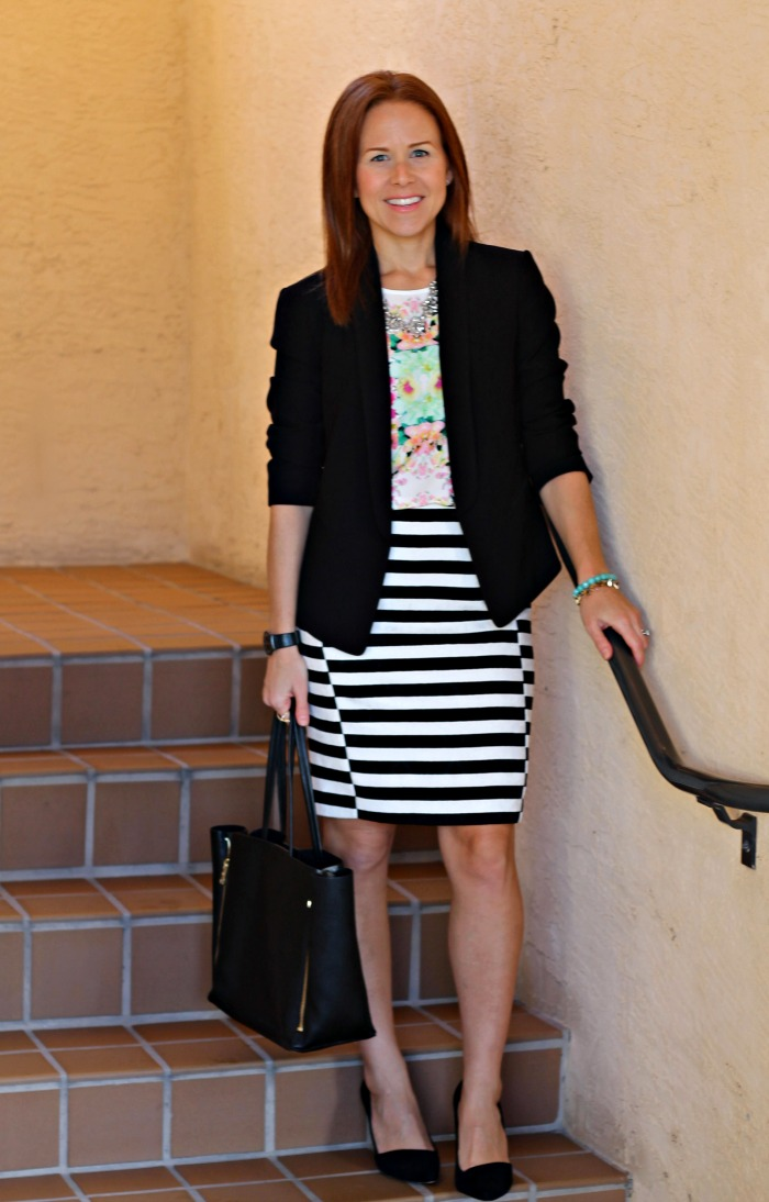 striped skirt + florals