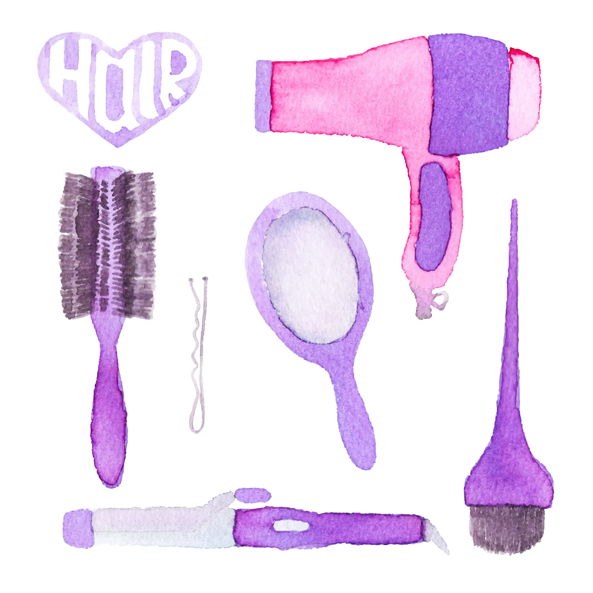 Hairstyling set. Hand-drawn tools. Real watercolor drawing. Vector illustration. Traced painting