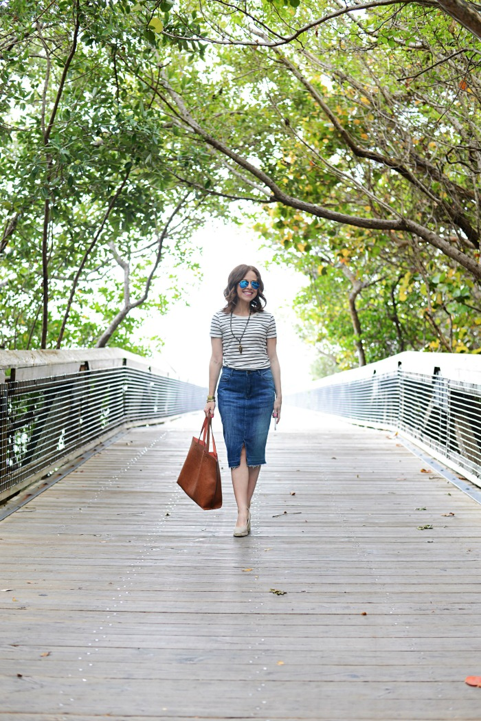 Denim Pencil Skirt // The Average Girl's Guide