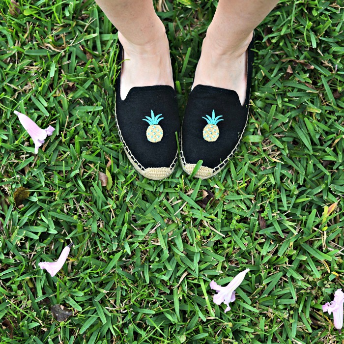 pineapple espadrilles - Casual Mom Outfit featured by popular Florida style blogger, The Modern Savvy