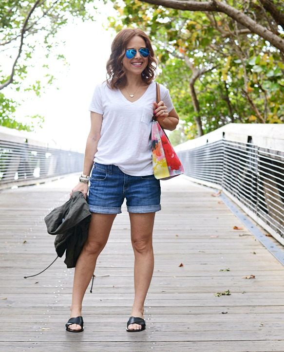 white tee and denim shorts style - Casual Mom Outfit featured by popular Florida style blogger, The Modern Savvy