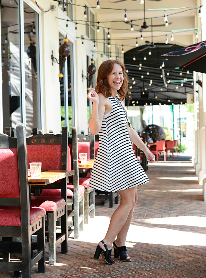 Swingy striped dress perfect all year