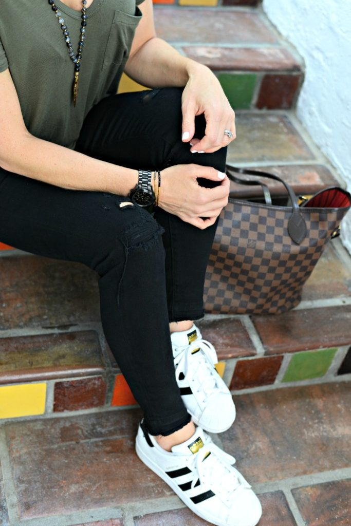 casual weekend uniform with adidas superstars, louis vuitton neverfull