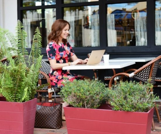 Blogger working at coffee shop