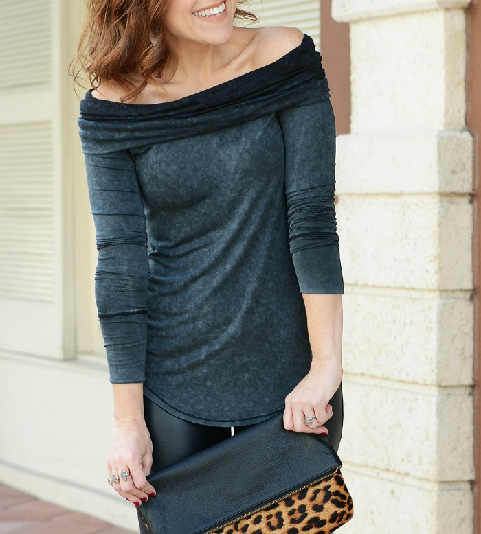 Wear this blouse off-the-shoudler or as a cowl neck