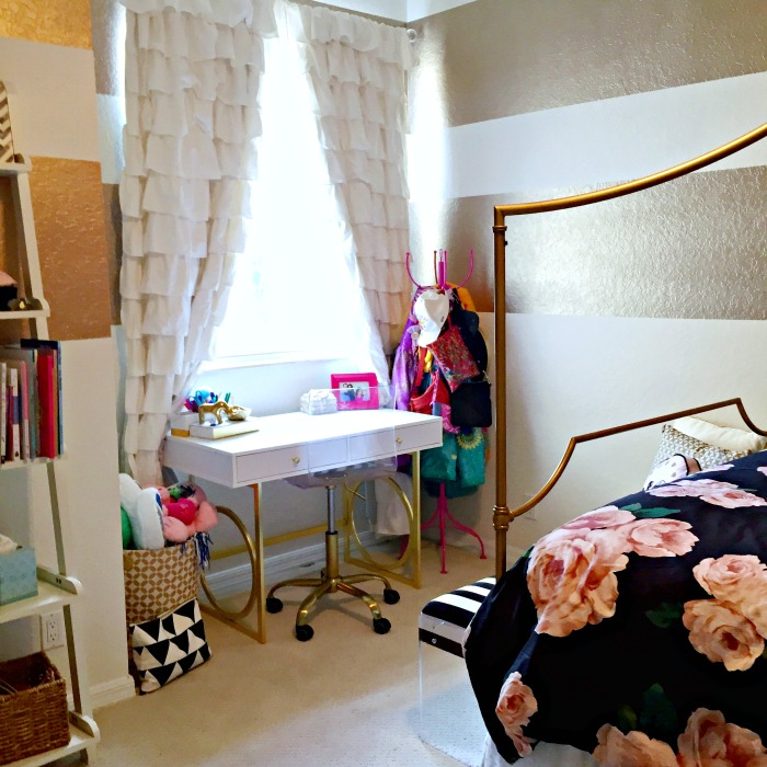 Big Girl Room, Gold Stripes, Pottery Barn Teen