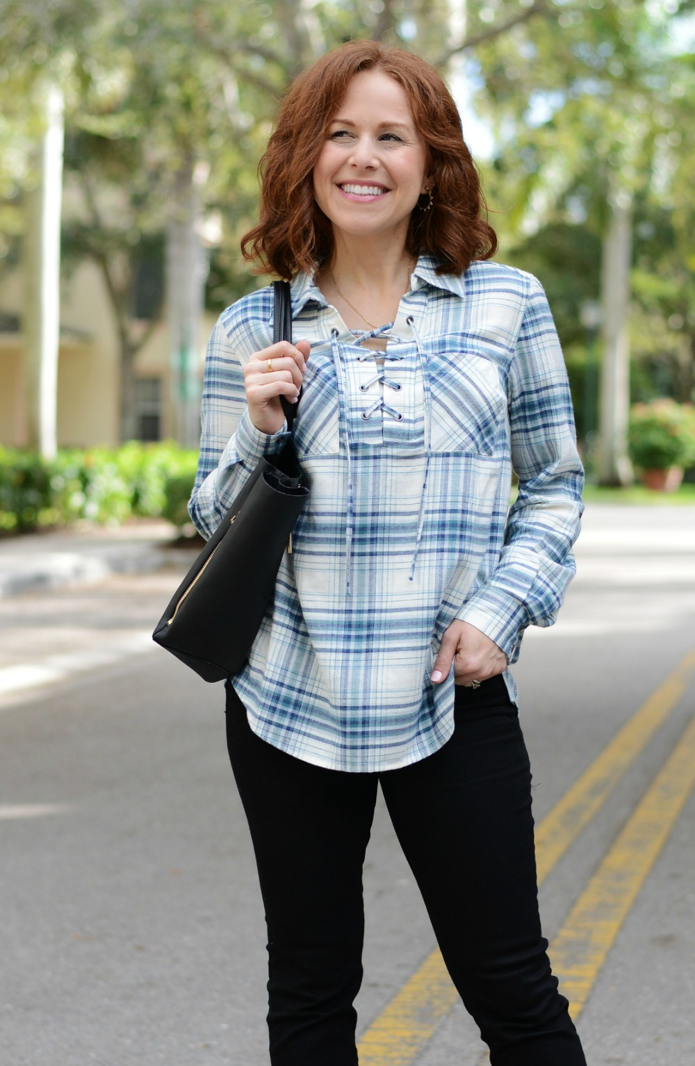 plaid lace-up top, blouse