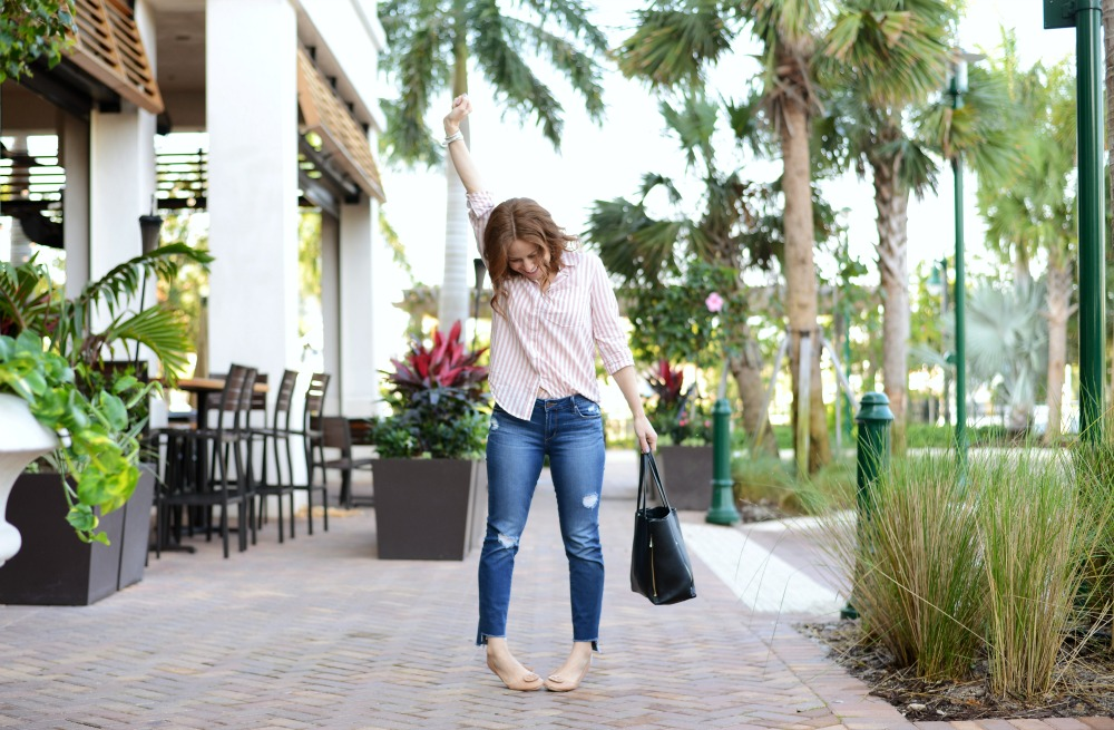 Pajama style striped blouse, easy real style