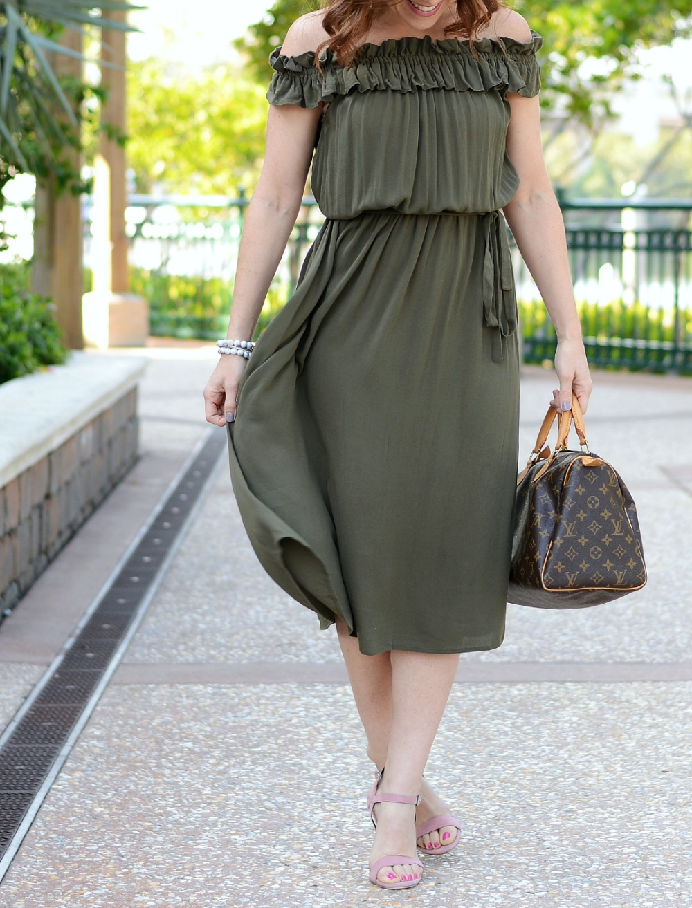 Midi Dress style on a petite girl (and why it's fun to embrace new styles! // the modern savvy - Embracing New Styles with a Who What Wear midi dress featured by popular Florida fashion blogger, The Modern Savvy