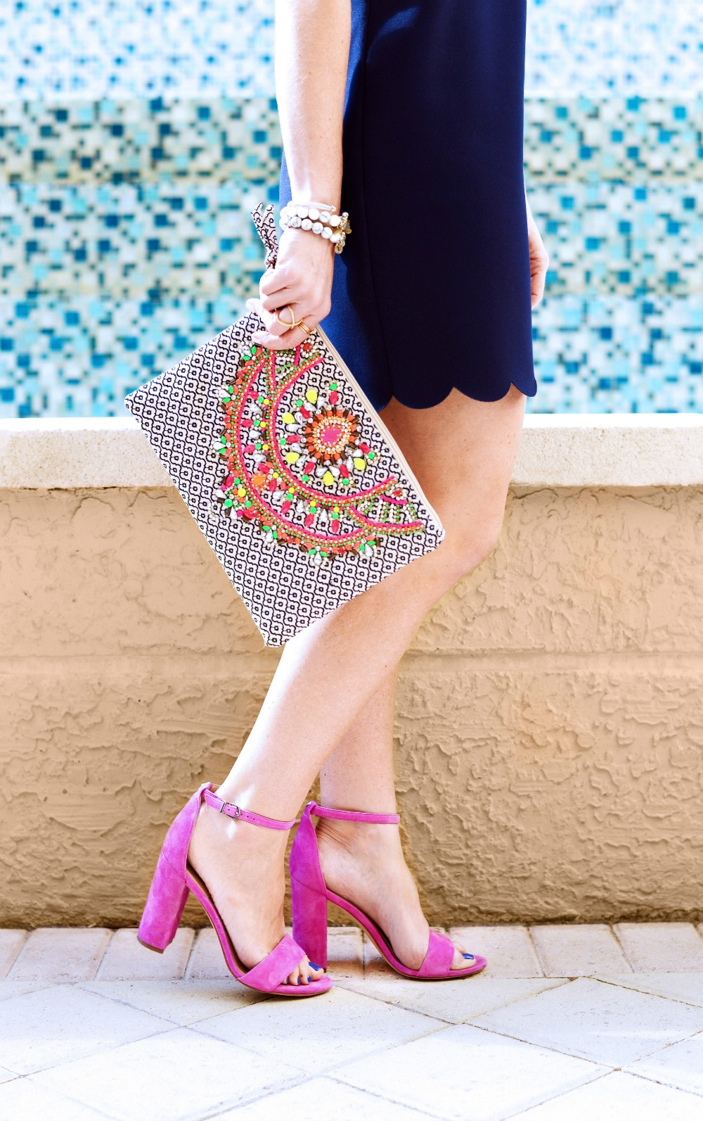 This season's necessary accessories: an embroidered clutch & statement making heels // the modern savvy