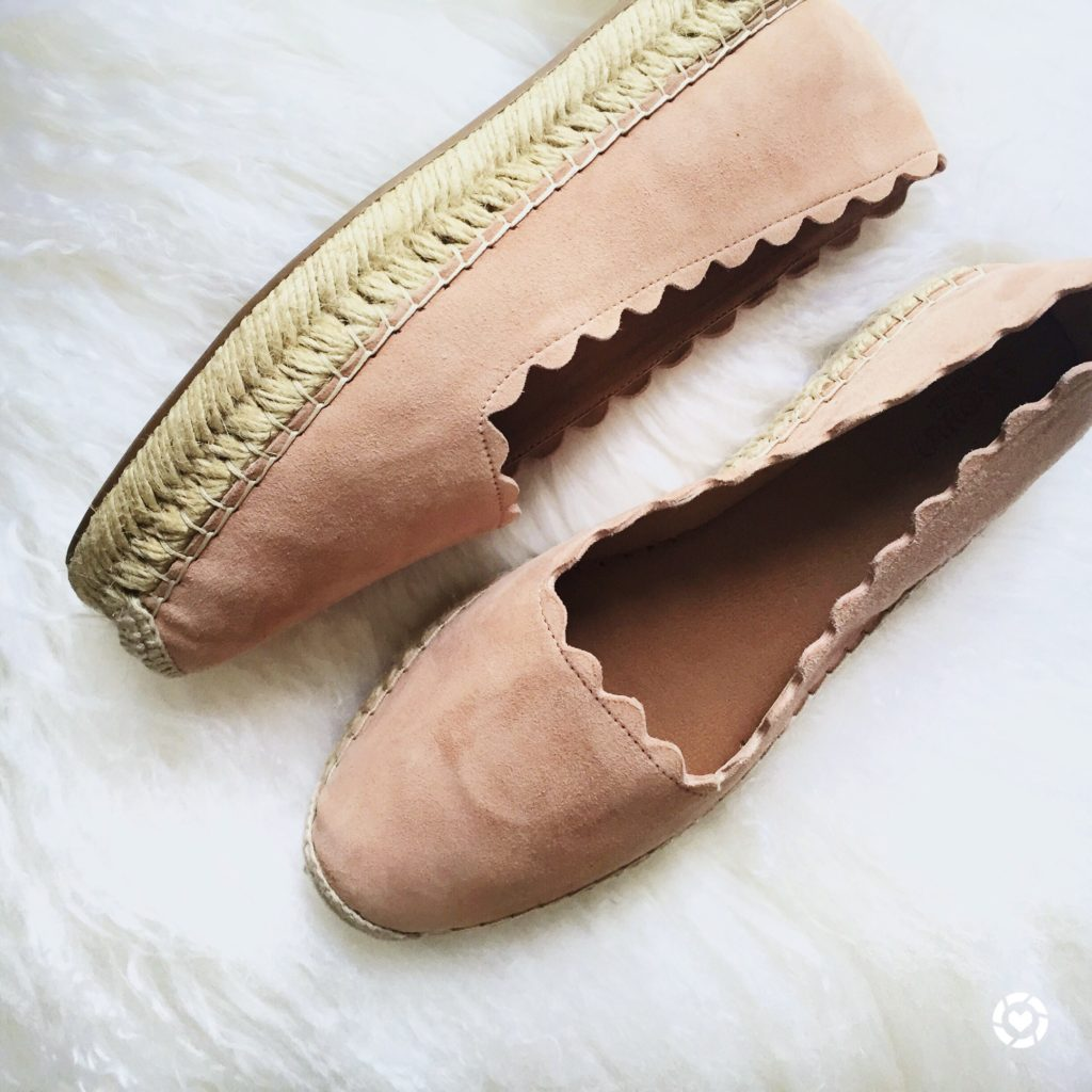Must have spring shoes -- the scalloped espadrille (under $50!)