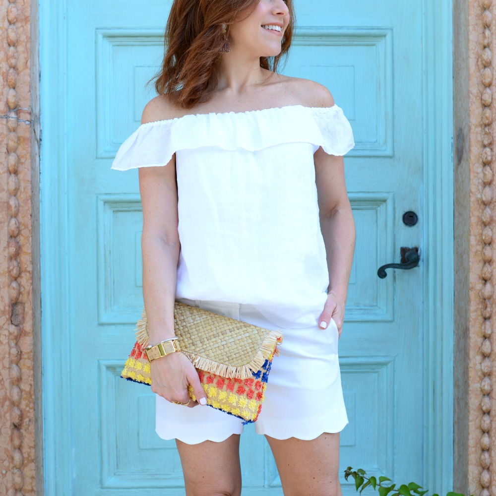 off-the-shoulder AND scalloped shorts -- the perfect summer style! // the modern savvy, a life & style blog