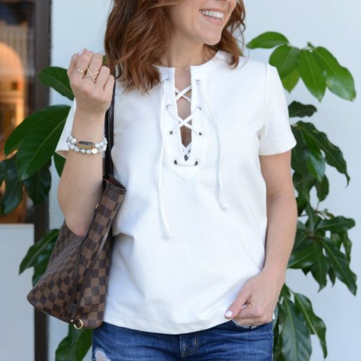 lace-up white top (closet staple!) // the modern savvy