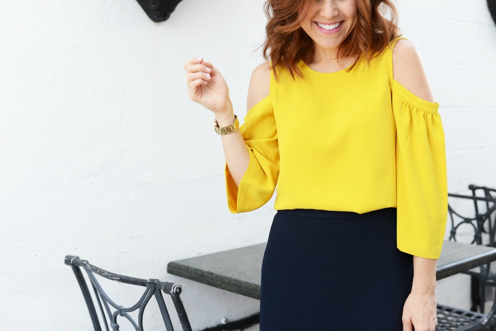 how to wear a cold-shoulder blouse for work