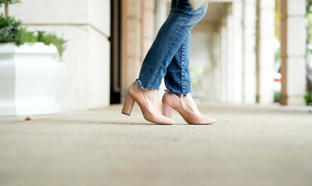 Blush heels with denim