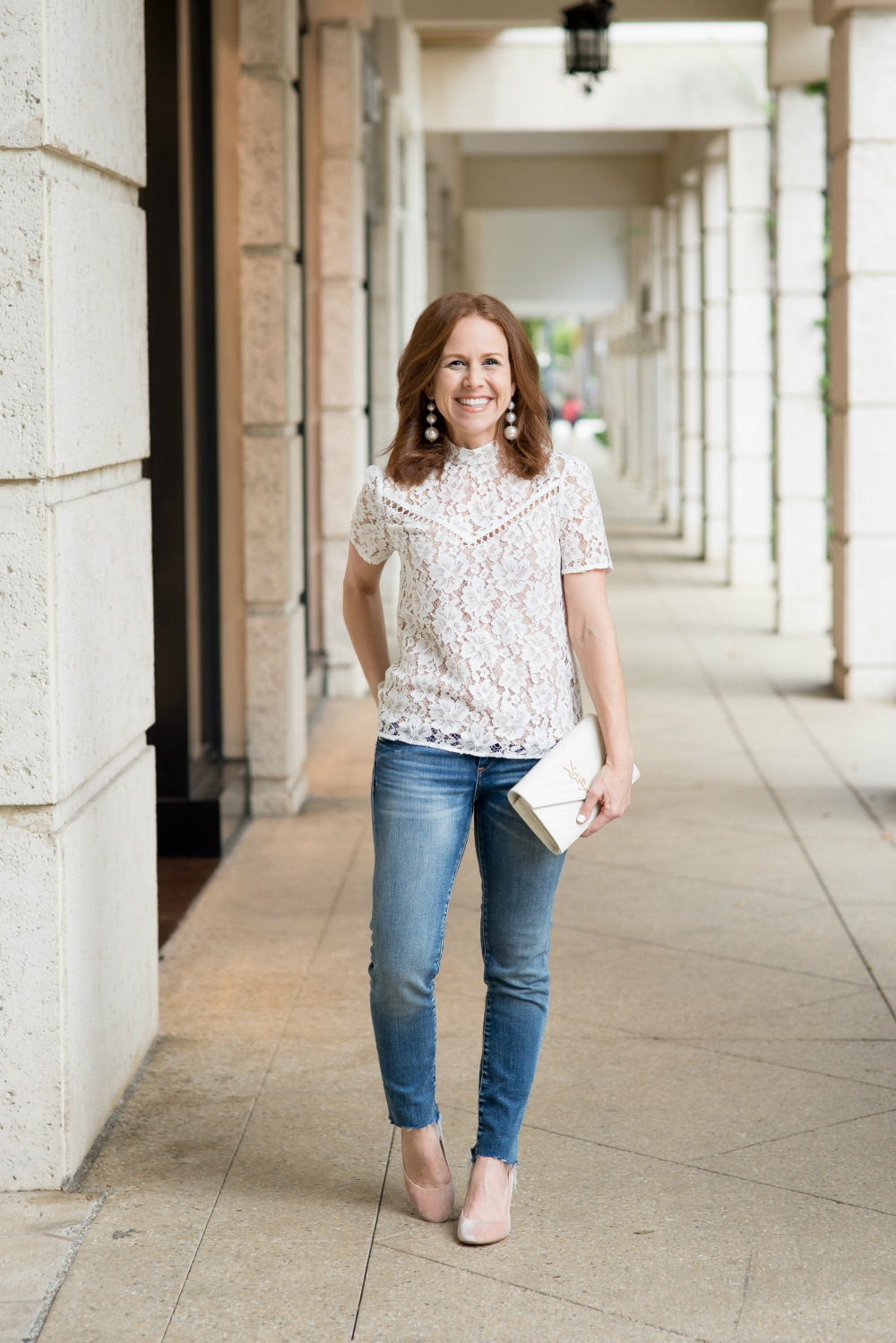 Classic outfit: lace blouse, blue denim and blush heels // the modern savvy