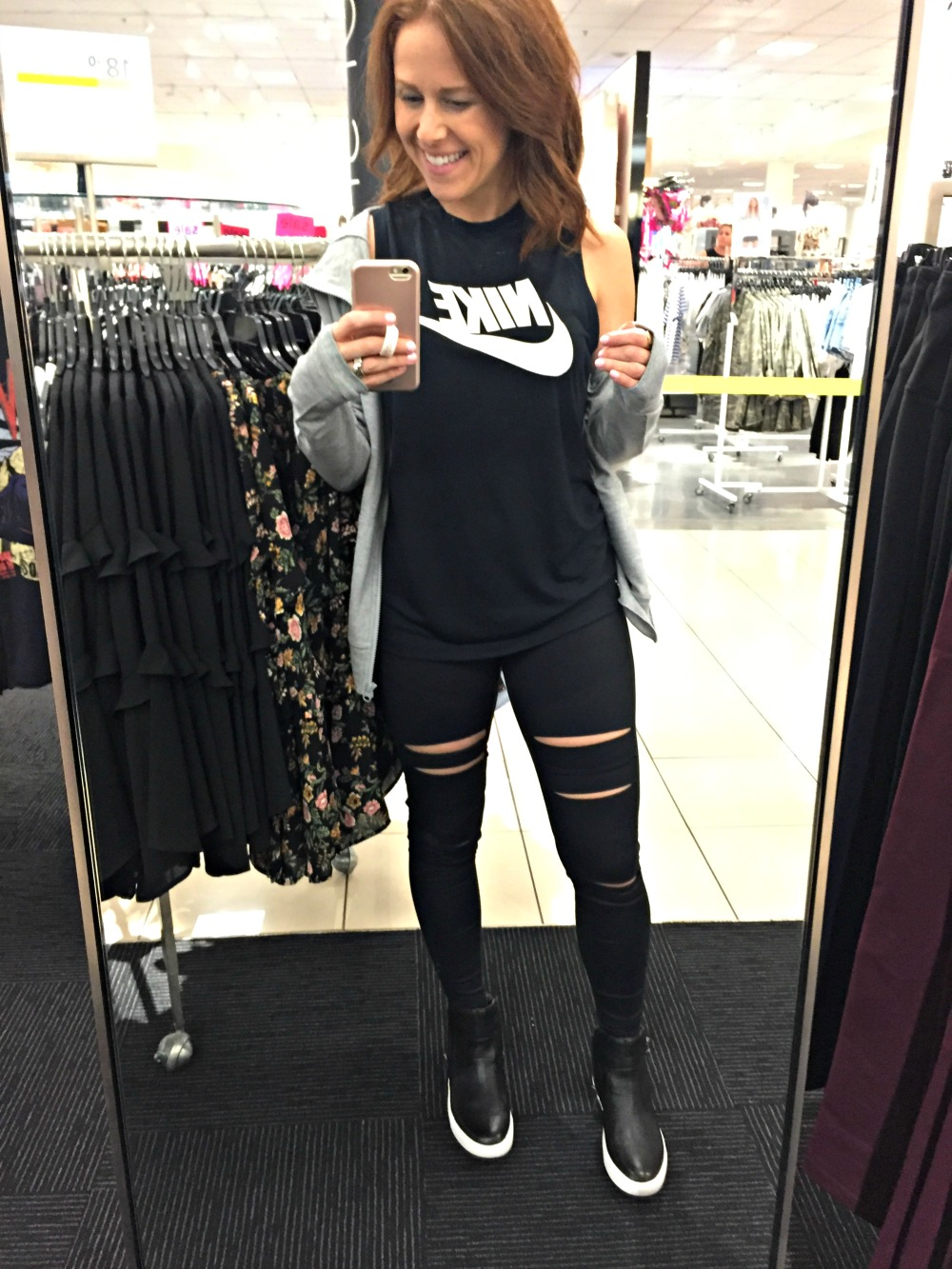 Nordstrom Anniversary sale 2017 -- obsessed with this athleisure wear outfit with distressed leggings