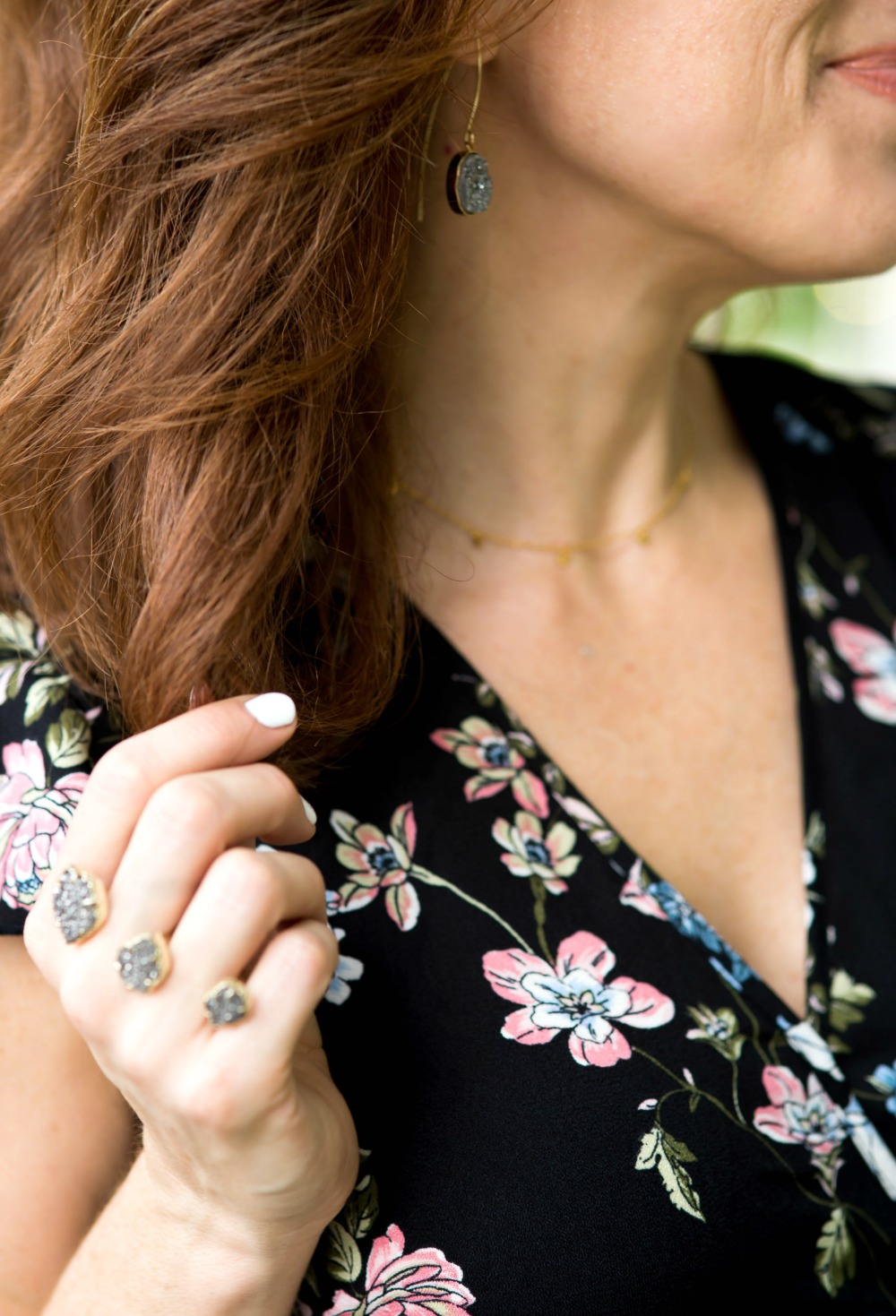 Floral maxi dress for fall with the Kendra Scott