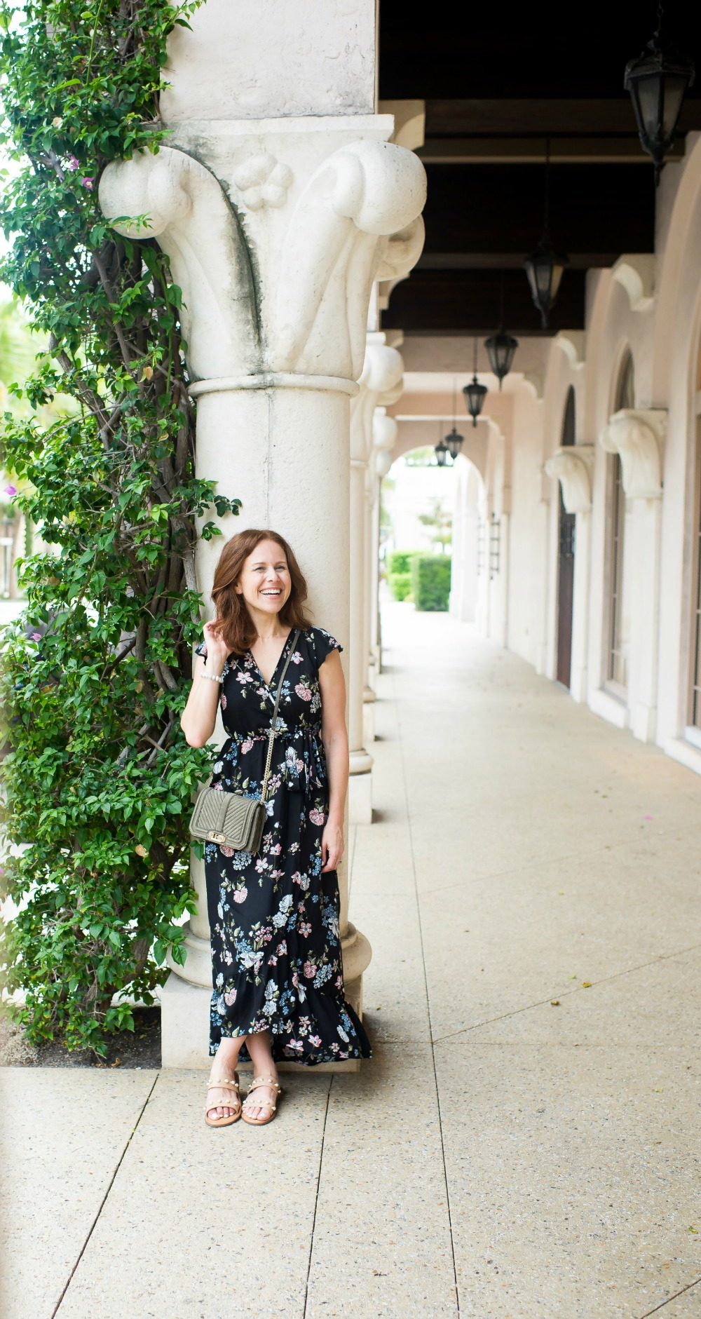 floral maxi dress, styled two ways, in palm beach .