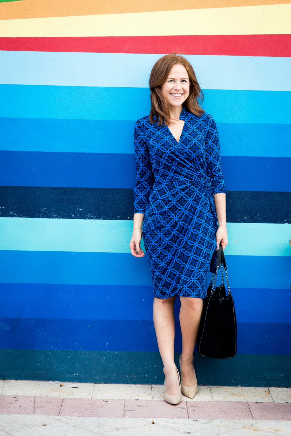Blue on blue! Striped wall accents a chic wrap dress on 30-something blogger Alyson // the modern savvy, a life & style blog