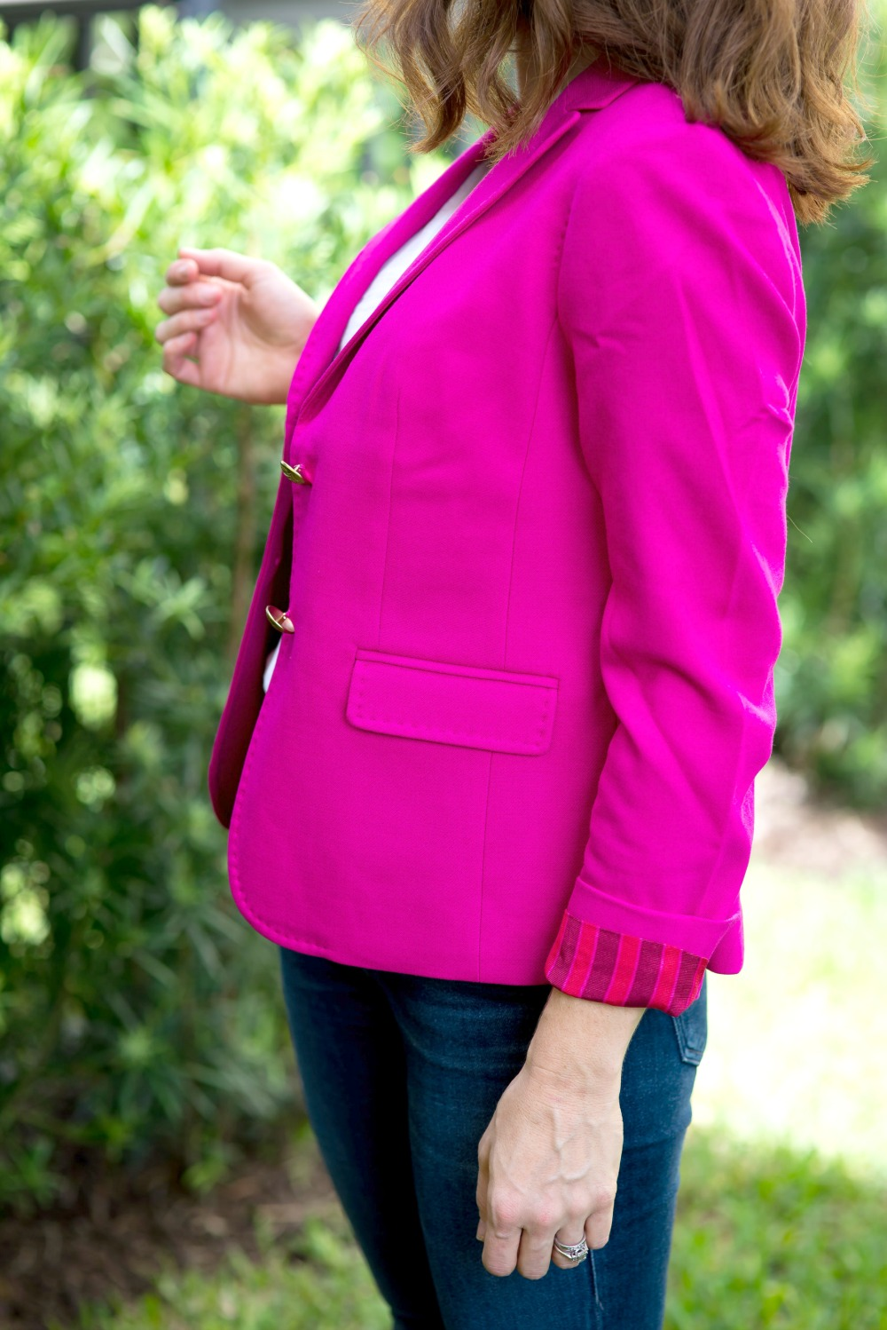 pink blazer styled for fall