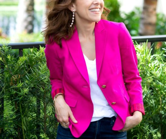 pink blazer styled for fall for an everyday casual chic look