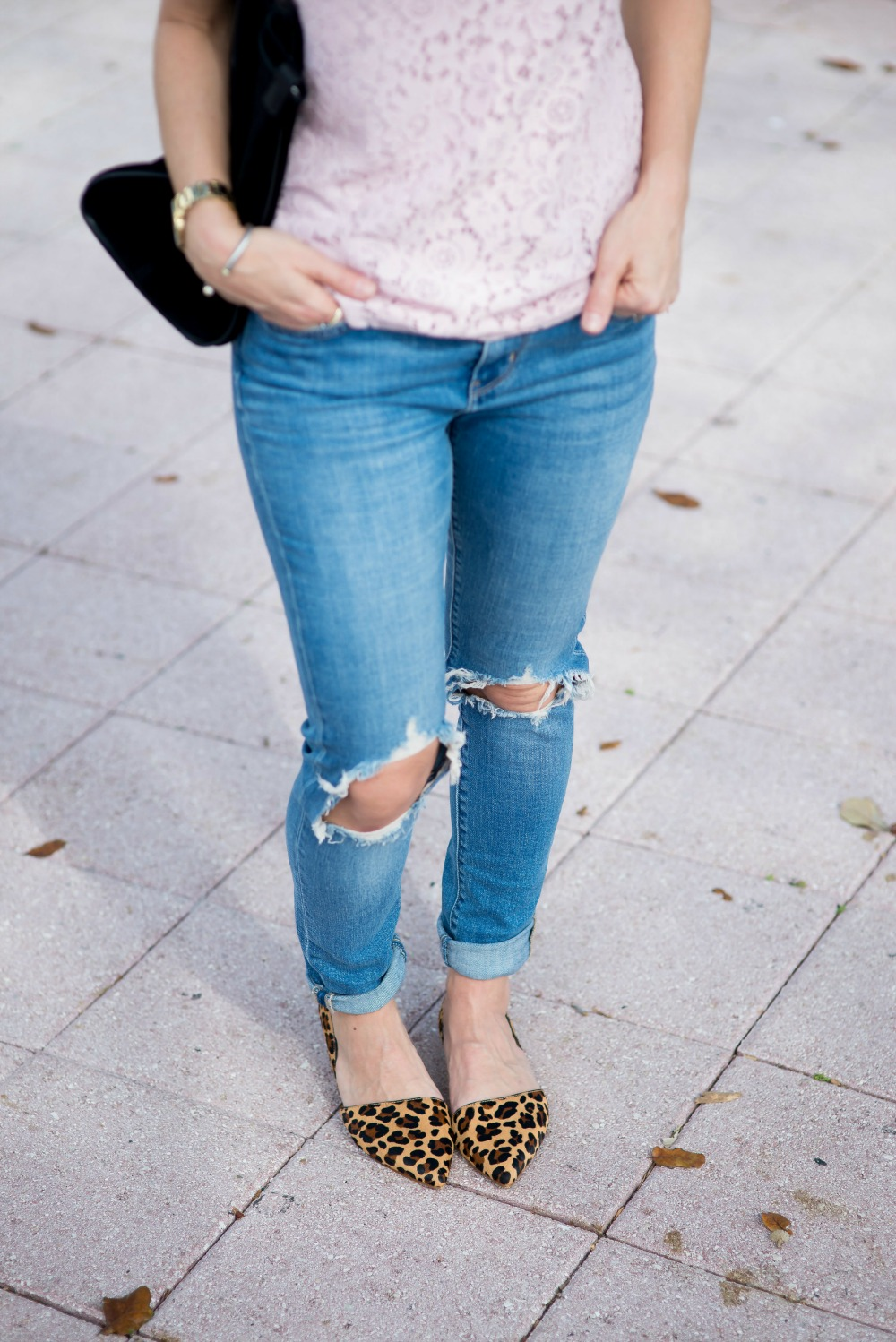 Ripped denim & leopard flats
