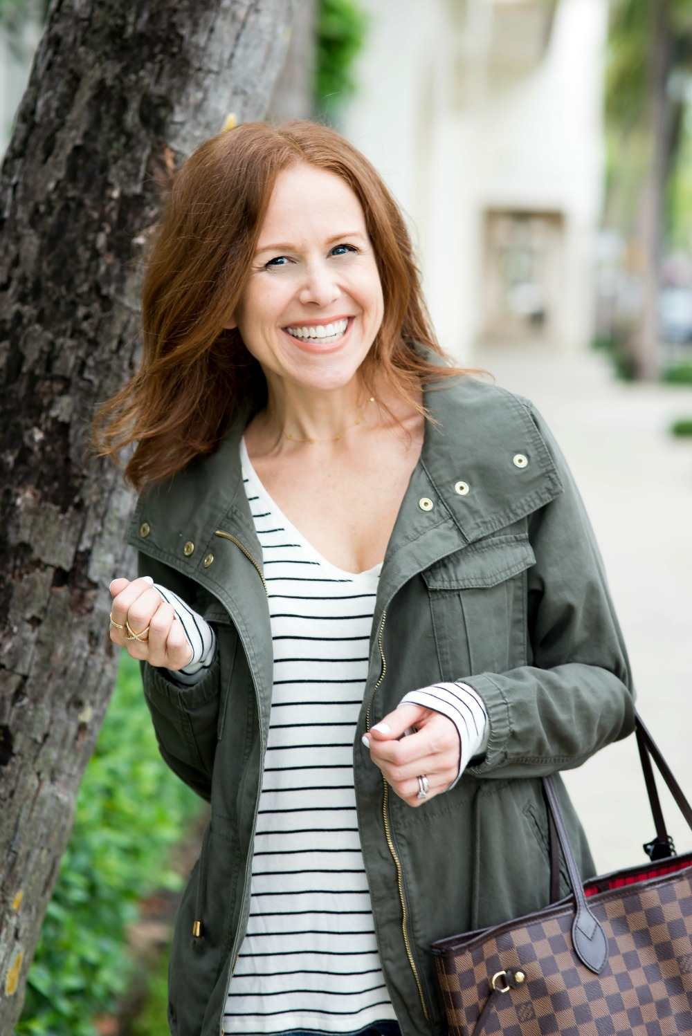 Easy fall outfit uniform for every girl -- cargo jacket, stripes, denim & sneaks // the modern savvy, a life & style blog