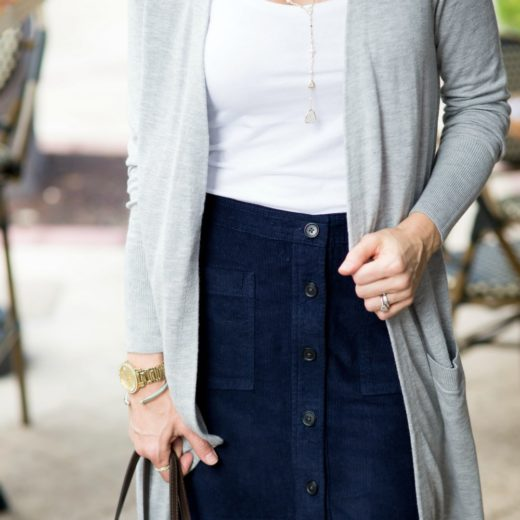 long cardy with a skirt // @themodernsavvy