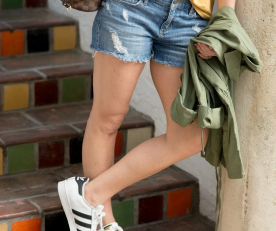 Fall style (even when it's hot out!) -- loving the army green jacket, mustard tee, denim and adidas // the modern savvy, a life & style blog - Riders by Lee army green jacket styled by popular Florida fashion blogger, The Modern Savvy