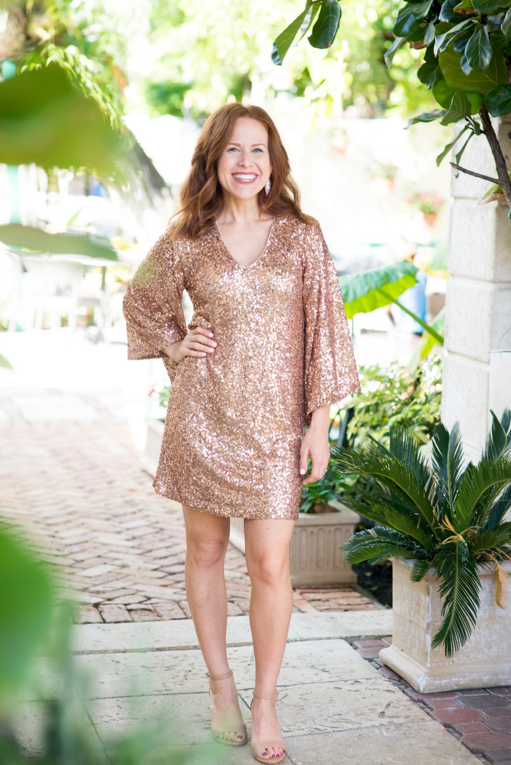 Sequin dress with bold sleeves | Maggy London | Nordstrom | Two Cute Holiday Party Dresses featured by top Florida fashion blog The Modern Savvy