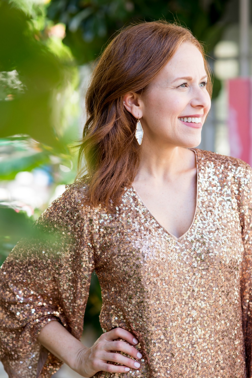 Sequin dress by Maggy London with Kendra Scott earrings | Maggy London | Nordstrom | Two Cute Holiday Party Dresses featured by top Florida fashion blog The Modern Savvy