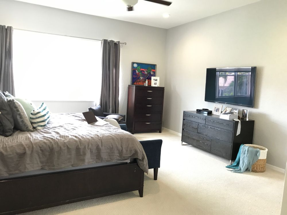 Master bedroom decor before by popular Florida style blogger The Modern Savvy