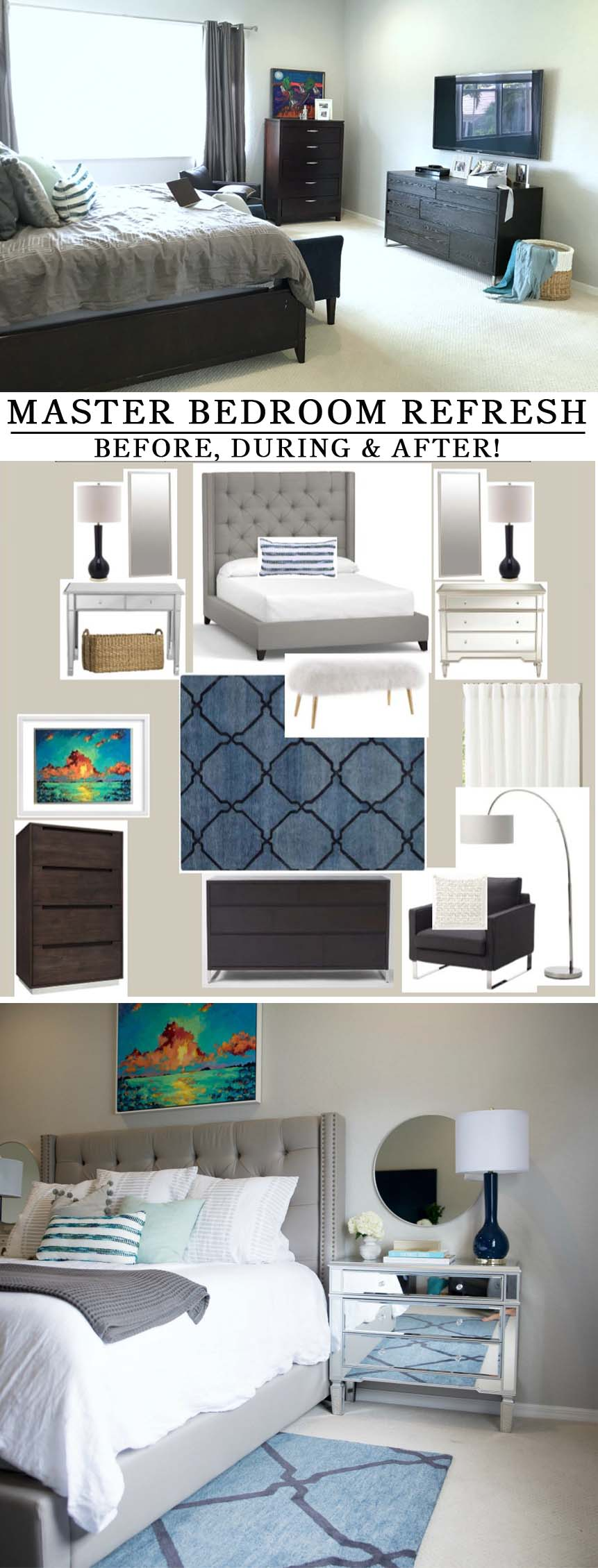 Master Bedroom Before & After -- Coastal, contemporary inspired space - Master bedroom refresh -- bright and light master bedroom decor (before & after) with grey upholstered headboard by popular Florida style blogger The Modern Savvy