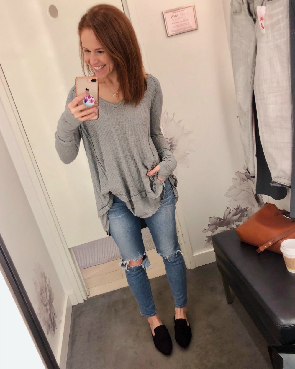Easy casual look in Free People laguna thermal, Citizens of Humanity denim and Target slides - January 2018 Current Favorites by popular Florida lifestyle blogger The Modern Savvy