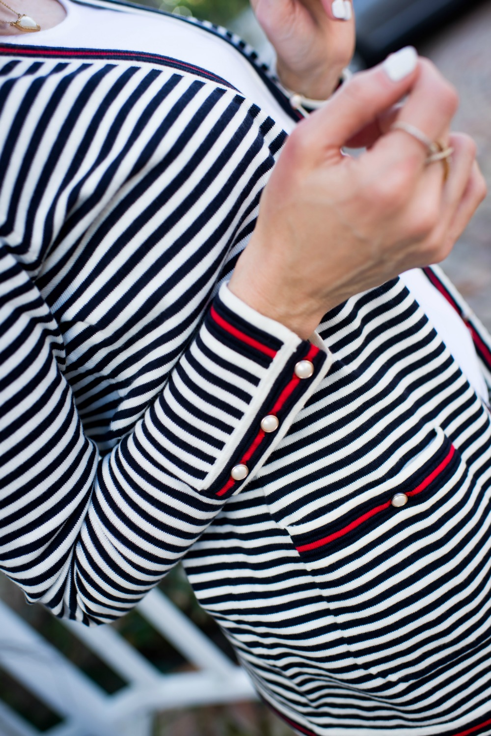 Striped cardigan details