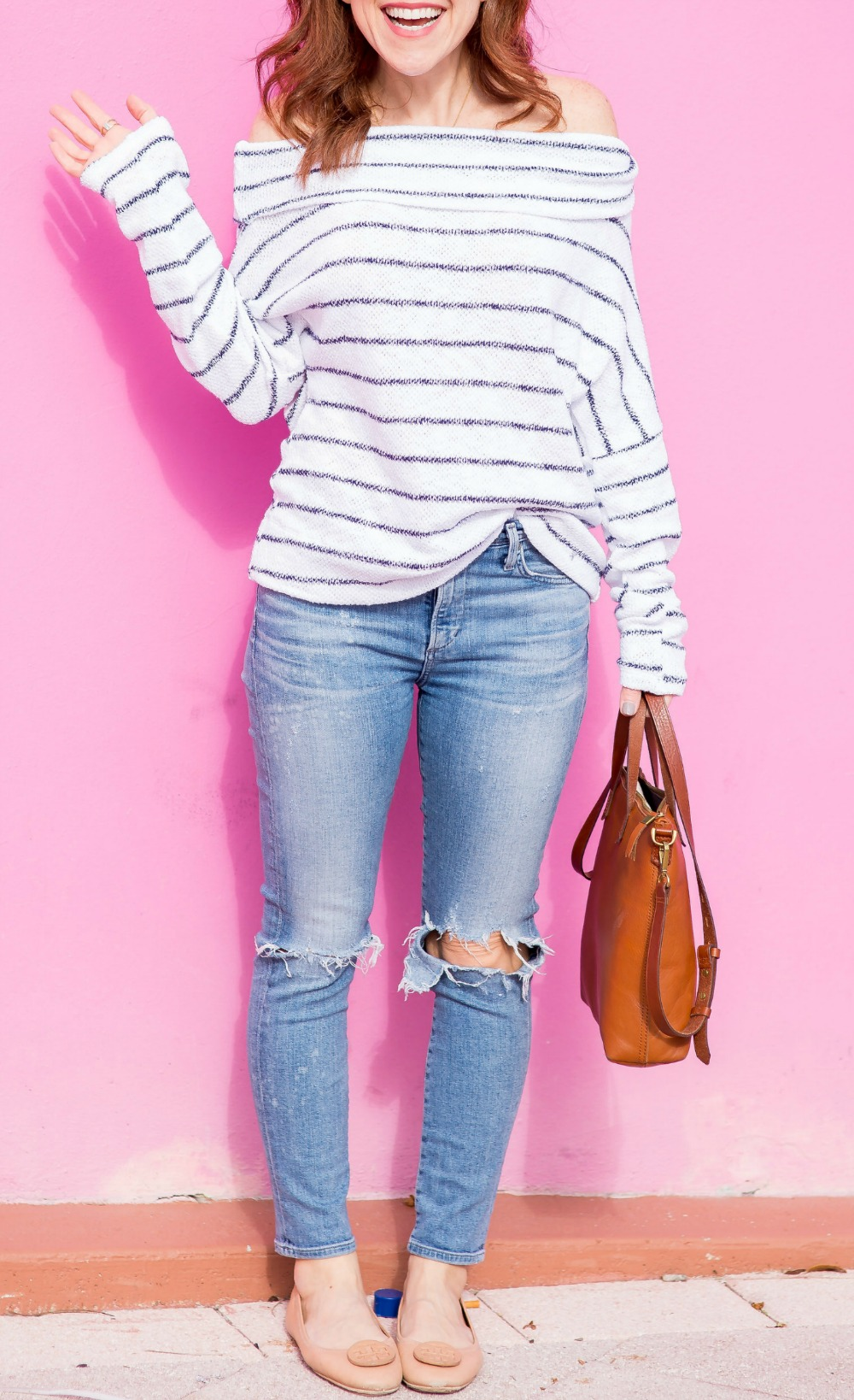 Spring style formula: striped off-the-shoulder sweater, distressed denim & neutral accessories - the most versatile striped top by popular Florida fashion blogger The Modern Savvy