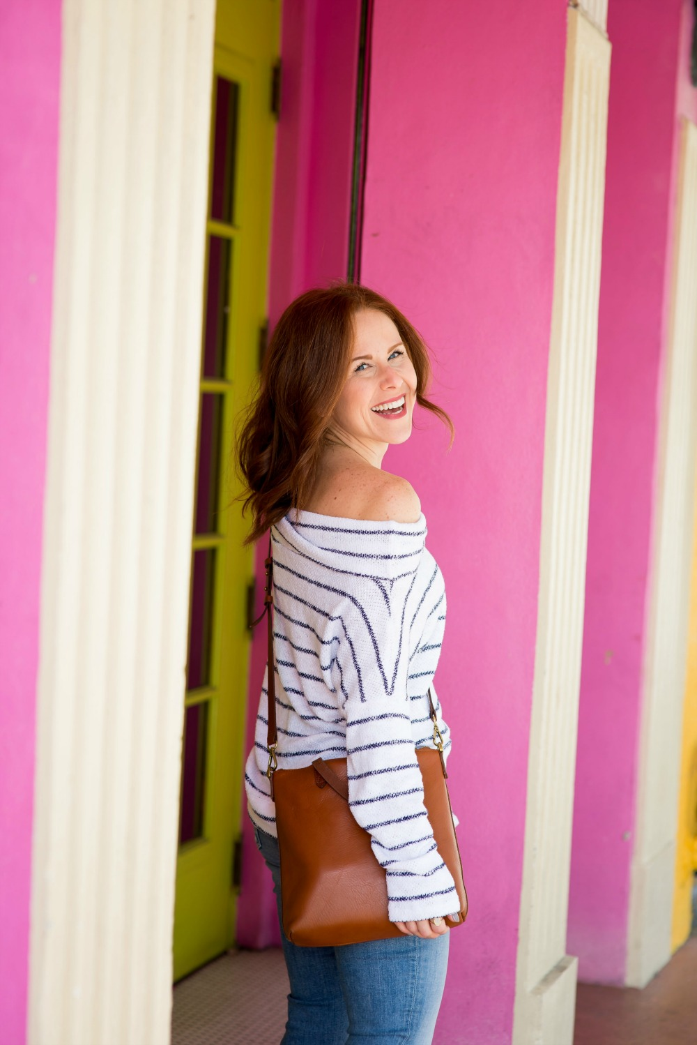 Striped off-the-shoulder sweater  - the most versatile striped top by popular Florida fashion blogger The Modern Savvy