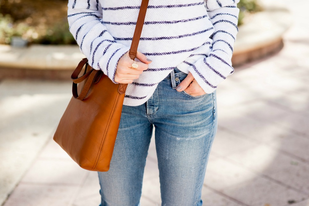 The most versatile spring top, with Kendra Scott ring and Madewell transport tote