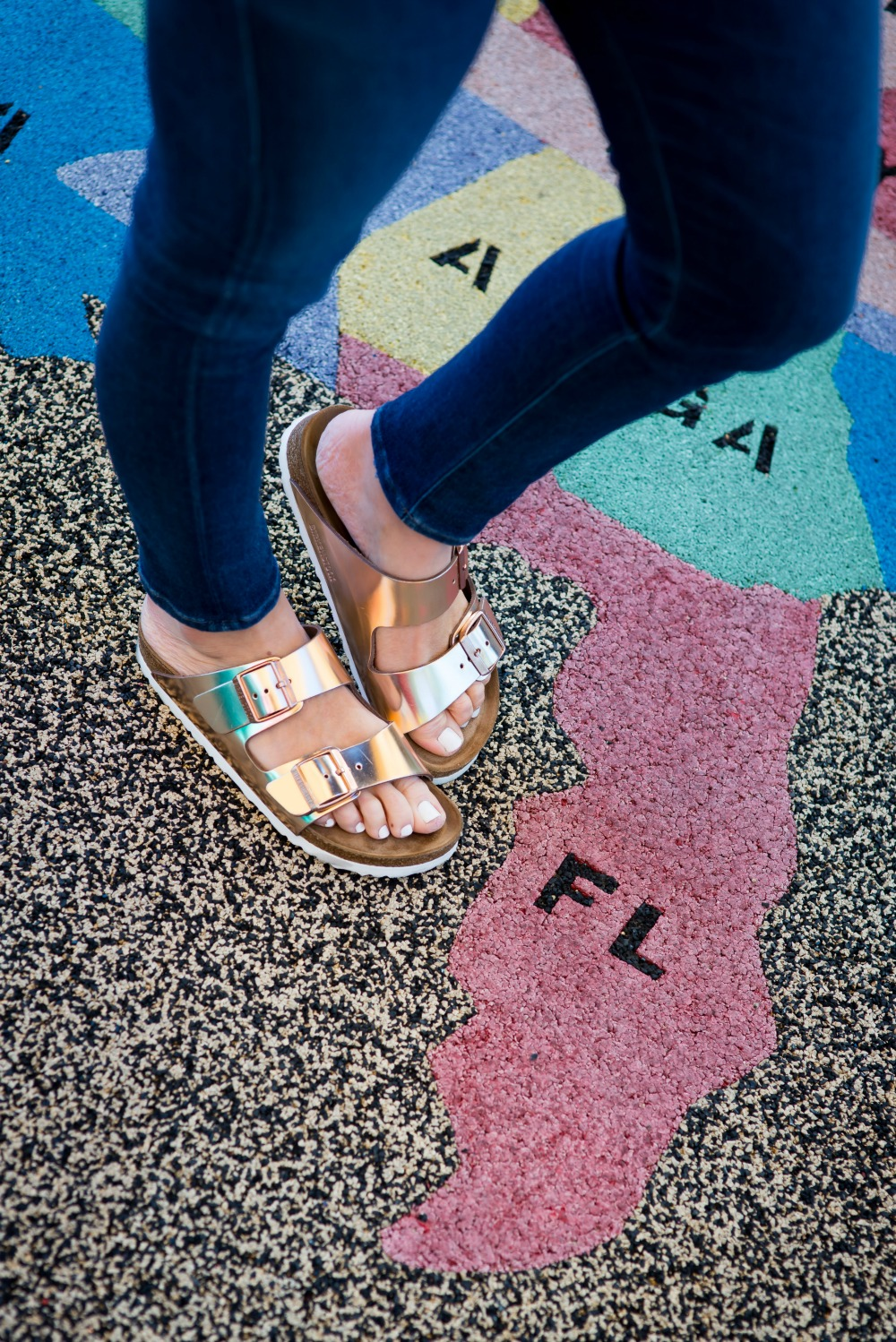 "Rose gold ""arizona"" birkenstocks  - Park Play Date by popular Florida blogger The Modern Savvy"