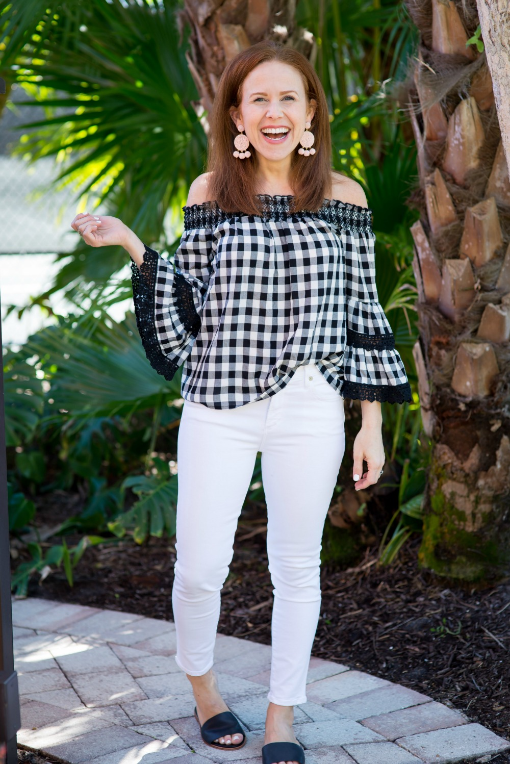 Gingham off the shoulder top for spring // the modern savvy