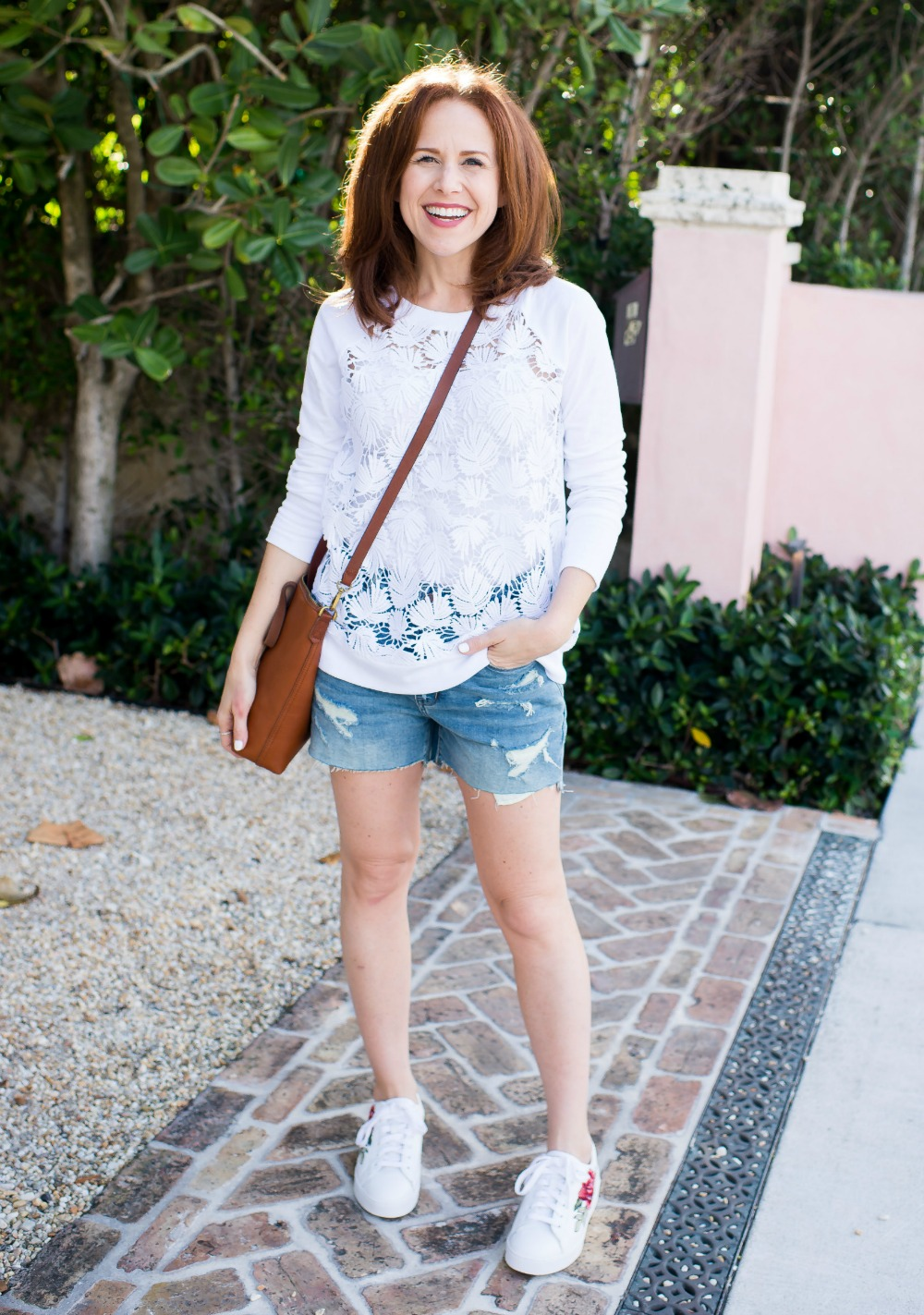 how to style a sweatshirt for spring - Spring Lace Sweatshirt by popular Florida style blogger The Modern Savvy