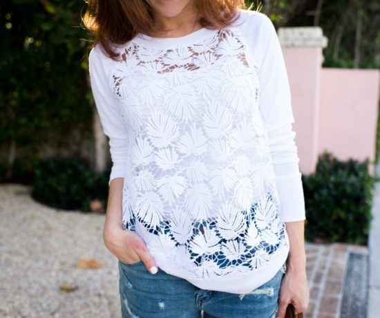 palm tree lace sweatshirt