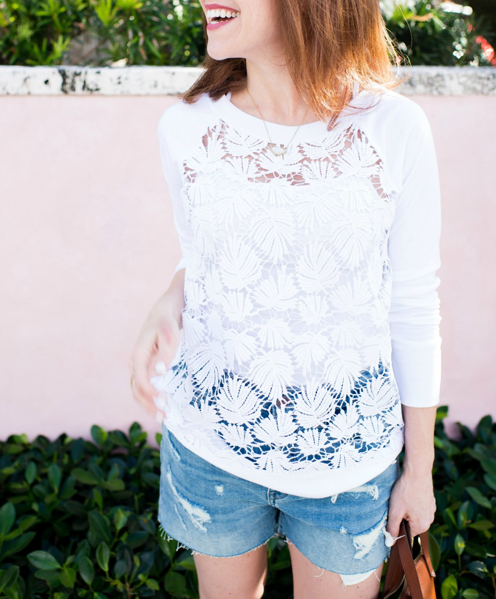 Easy spring outfit formula // the modern savvy - Spring Lace Sweatshirt by popular Florida style blogger The Modern Savvy