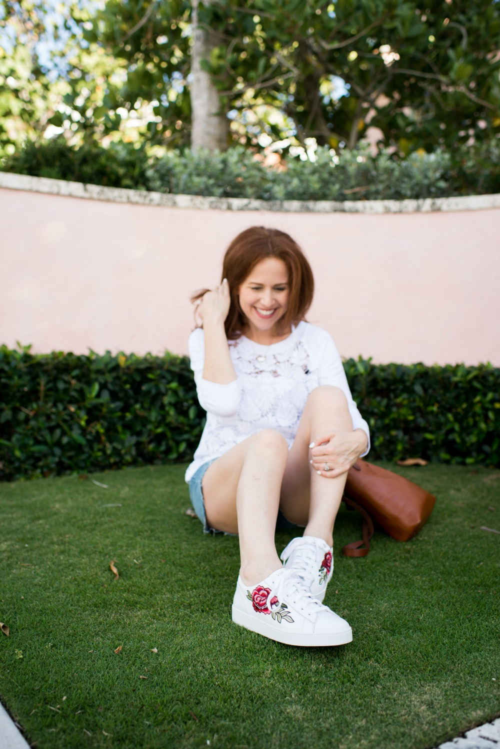 Easy spring outfit ideas // the modern savvy, a florida life & style blog - Spring Lace Sweatshirt by popular Florida style blogger The Modern Savvy